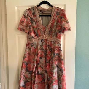 NWT Anthro Floral Dress with Chrocheted detailing